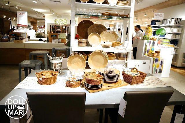 Crate and Barrel Brown Themed plates and baskets table cover set up