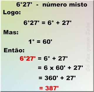 Ilustração mostrando a conversão de 6°27' (seis graus e vinte e sete minutos) para minutos.