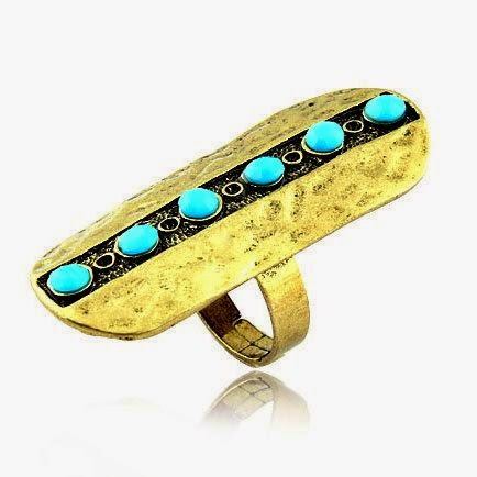 Turquoise And Gold Fashion Ring