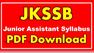 JKSSB Junior Assistant Syllabus PDF Download Jammu Kashmir Assistant Syllabus