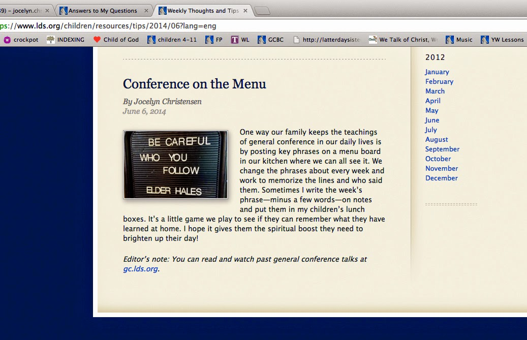 General Conference on the Menu   We Talk of Christ, We