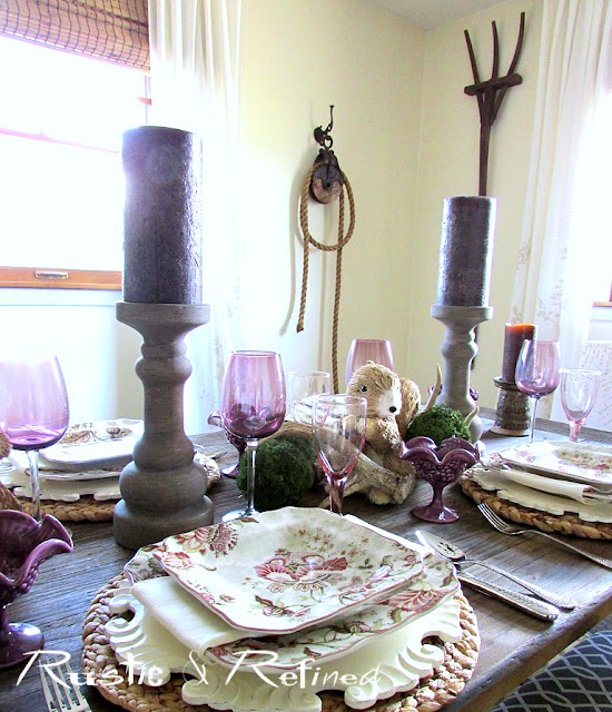 Spring tablescape in the dining room using traditional dishes, color and texture