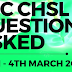 SSC CHSL 4 March 2018 Paper Asked Questions