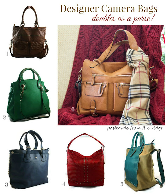 Variety of colors for designer camera bags.