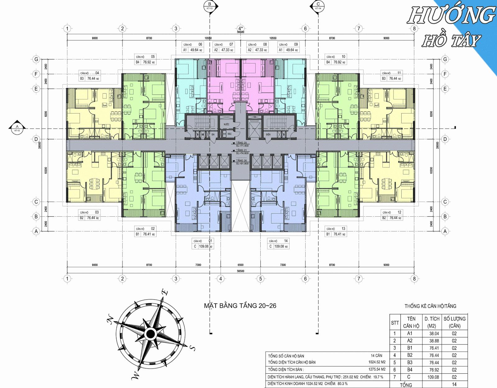 Mặt bằng tầng 20 đến 26 dự án căn hộ chung cư D'eldorado Phú Thanh.