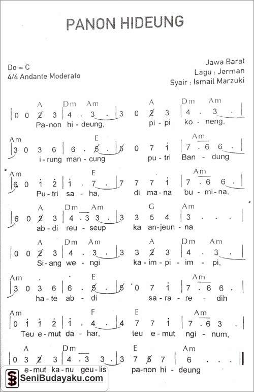Lirik Lagu Panon Hideung Beserta Not Angka Dan Chord Gitar Seni Budayaku