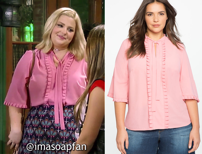 Amy Driscoll, Risa Dorken, Pink Pleat Detail Bow Blouse, ELOQUII, General Hospital, GH