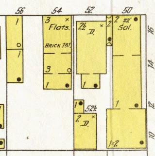 In 1903 the Sanborn insurance map for Elizabeth, NJ, Sheet 75, showing the buildings at the corner of Marshall and Front Streets.