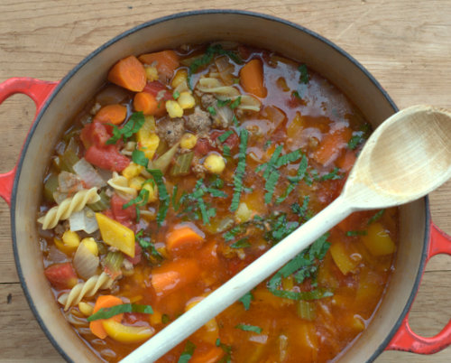Hamburger Soup, more comfort food ♥ KitchenParade.com, a hearty meat and vegetable soup, laced with noodles. Weight Watchers Friendly. High Protein. Great for Meal Prep & Feeding a Crowd.