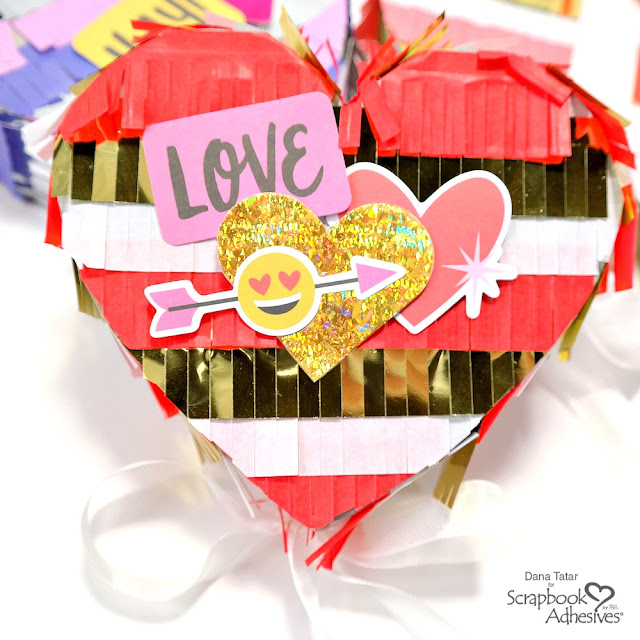 Red Gold and White Heart Pinata with 3D Foam Holographic Heart