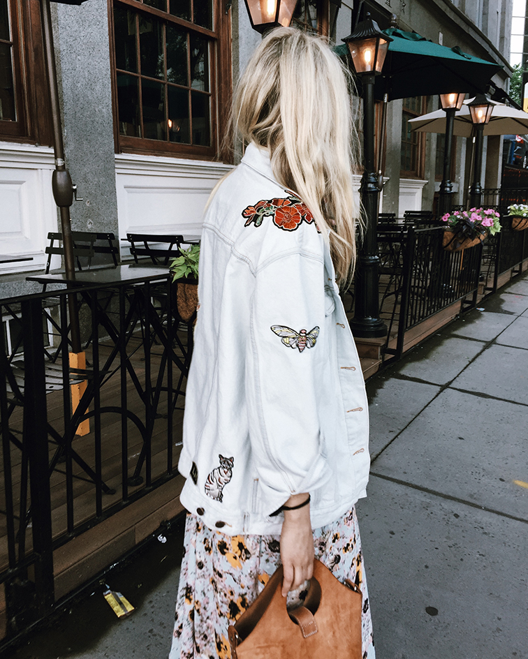 Aritzia Wilfred Mariette dress, Aritzia Little Moon Dianthus denim jacket, Donald J Pliner slides