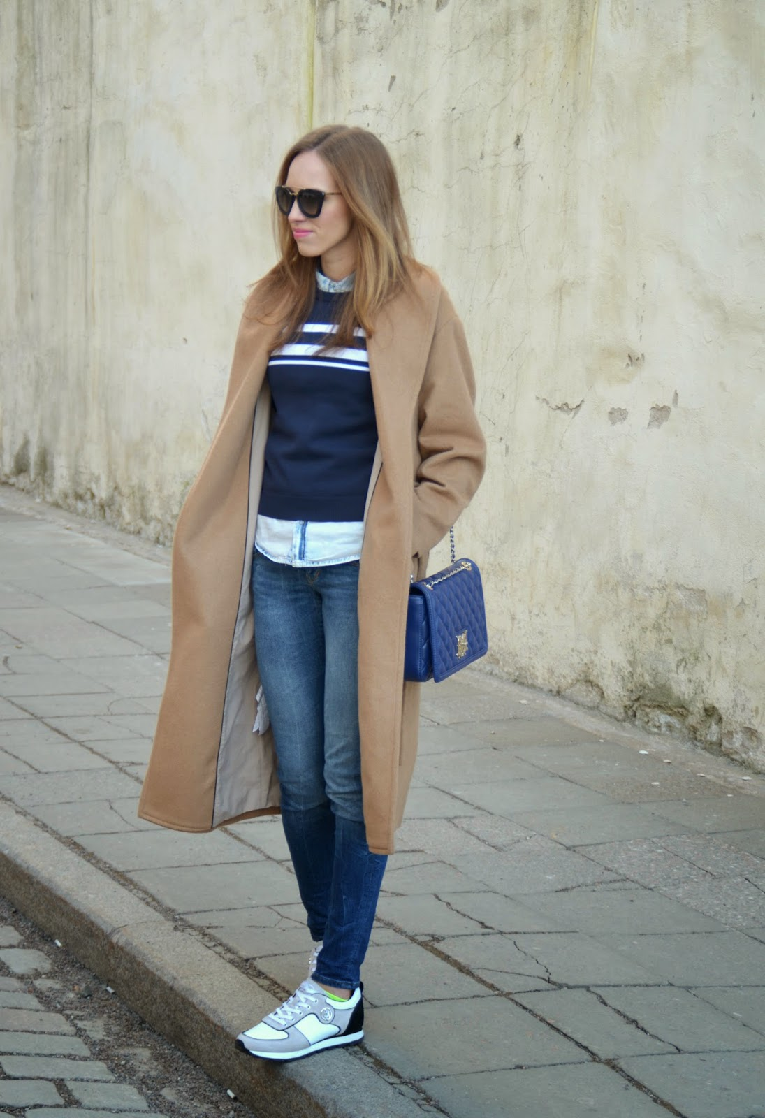 mango-camel-coat-navy-striped-sweater-guess-jeans-armani-white-sneakers kristjaana mere