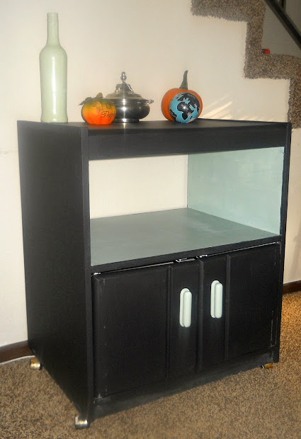 Paw Prints And Paintbrushes Chalkboard Painted Microwave Cart
