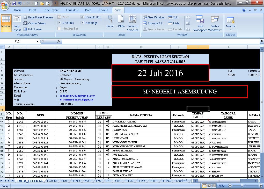 Download Aplikasi Rekap Nilai SKHUS Ijasah Tahun 2016 Berbasis Ms.Excel Terbaru (New Update)