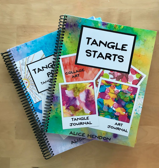 spiral bound copies of my two newest books Tangle Starts Planner and Tangle Starts