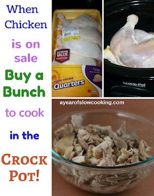 When chicken in on sale, snag it and bring it home! 7 hours later you've got perfect homemade shredded chicken for tacos, pasta sauce, salads, sandwiches, etc. Long live the crockpot slow cooker!