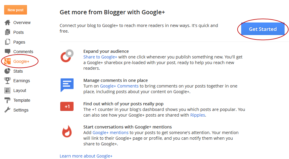 get started with google+