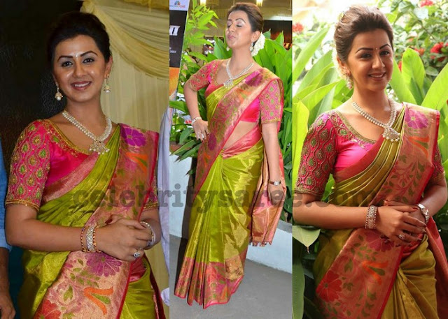 Nikki Galrani Green Bridal Silk Saree