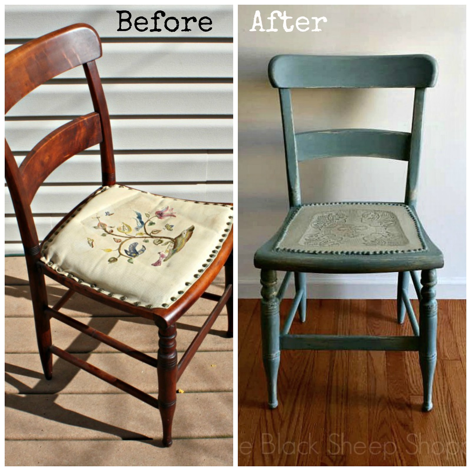 Before and after vintage wood chair