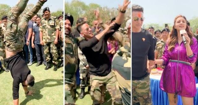 अक्षय कुमार ने खेली सुरक्षा जवानों संग होली, किया खूब डांस