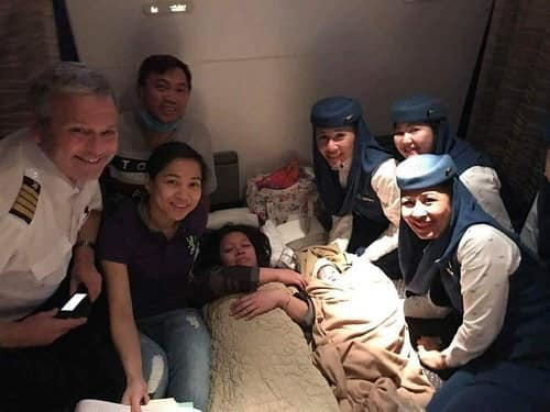 CHILD SAFELY DELIVERED ABOVE THE CLOUDS ON SAUDIA FLIGHT