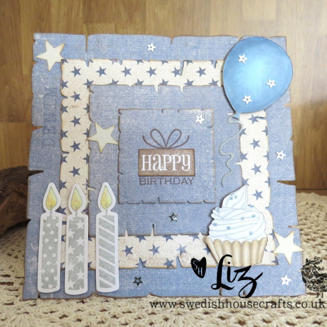 Using Gummiapan Old Paper dies for a man's card  | By Liz