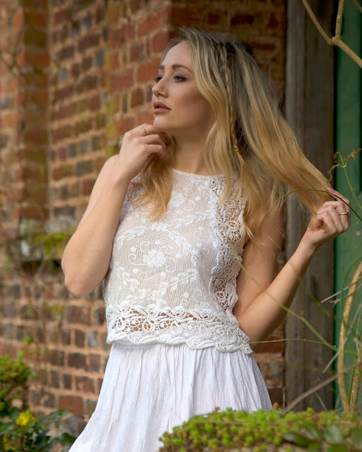 white dress red brick