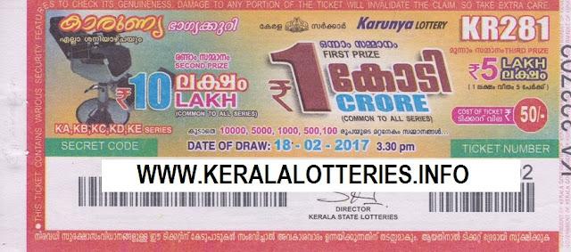 Kerala lottery result official copy of  Karunya_KR-105