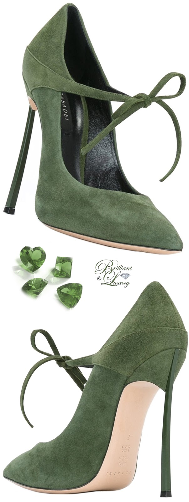 Casadei Green Lace-Up Pumps #shoes #pantone #brilliantluxury