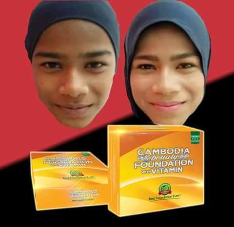 Cambodia Beauty Foundation with Vitamin, Bedak Asas Kecantikan Anti Jerawat, testimoni foundation anti jerawat, produk kecantikan muslim, krim herba kemboja