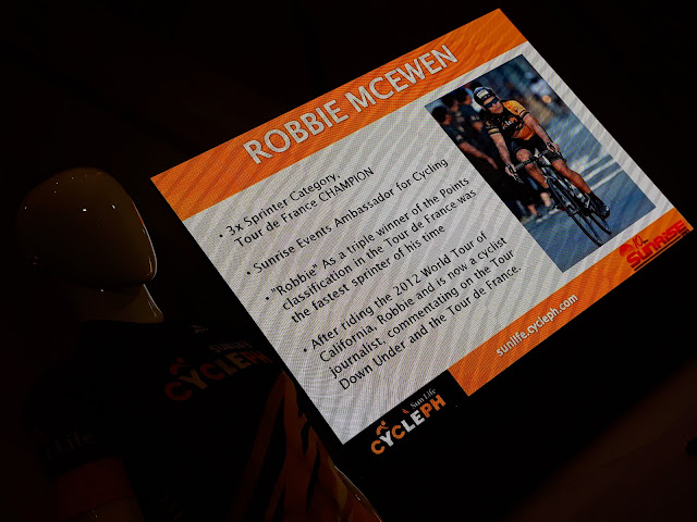 Champion cyclist Robbie McEwen delivered a video message.