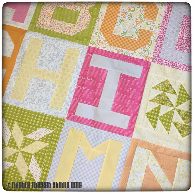 Thistle Thicket Studio, Spell It With Moda, Moda, Sunkissed fabric, abc quilt, letter quilt blocks