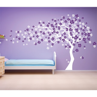 Purple bedroom ideas: Cherry Blossom tree wall decal