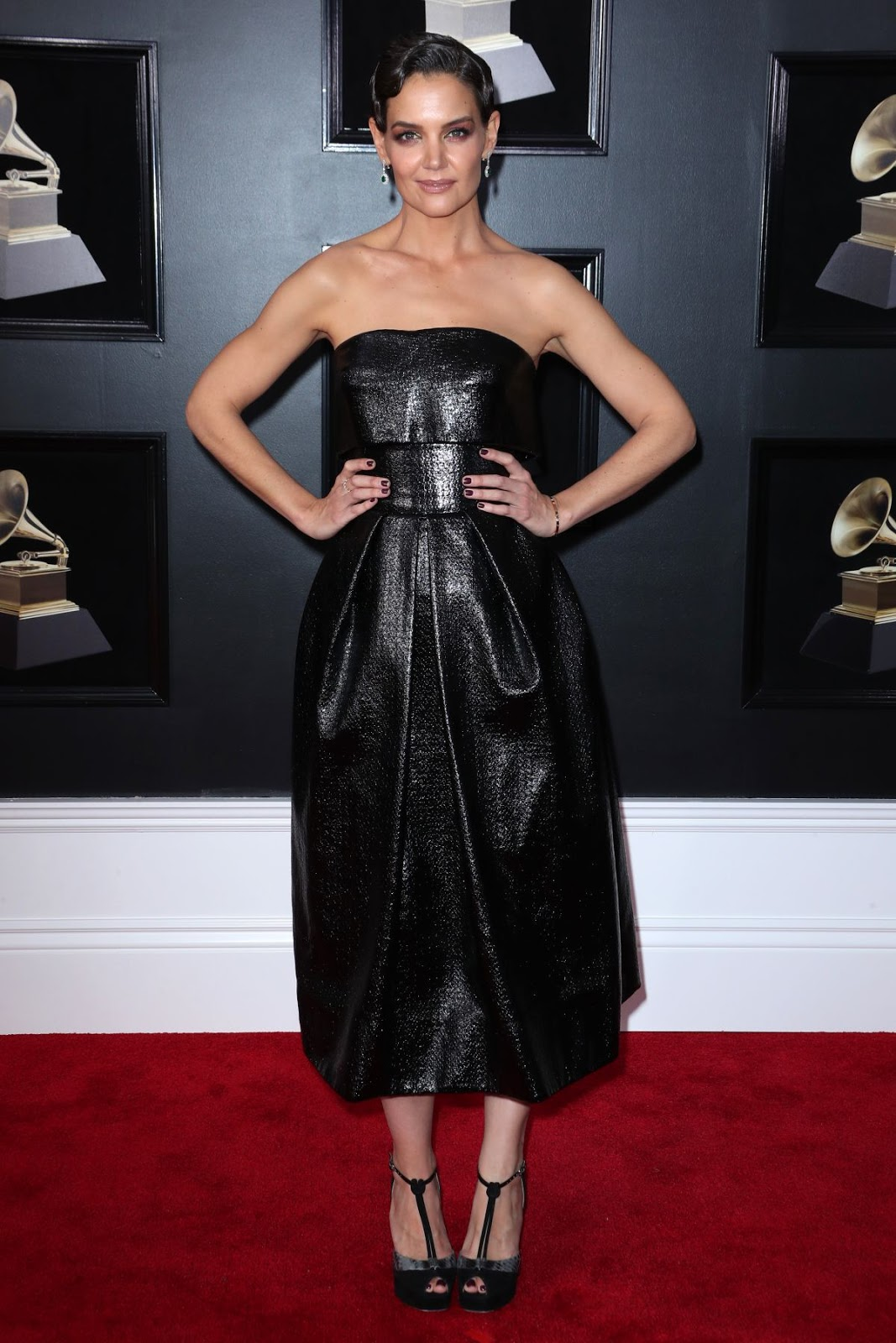 Katie Holmes wears strapless leather to the 2018 Grammy Awards