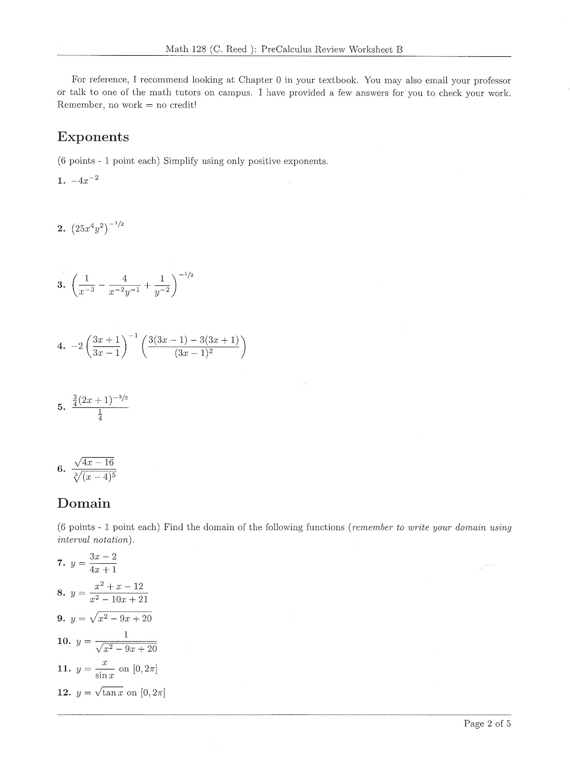 Printables Pre-calculus Worksheets first day plan calculus i after the introductory lesson limits usually handed students a precalculus and algebra review worksheet heres one page of my worksheet