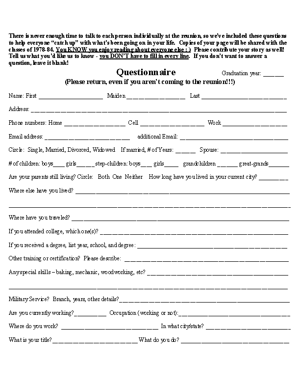 Sample high school reunion questionnaire video search for High school registration form template