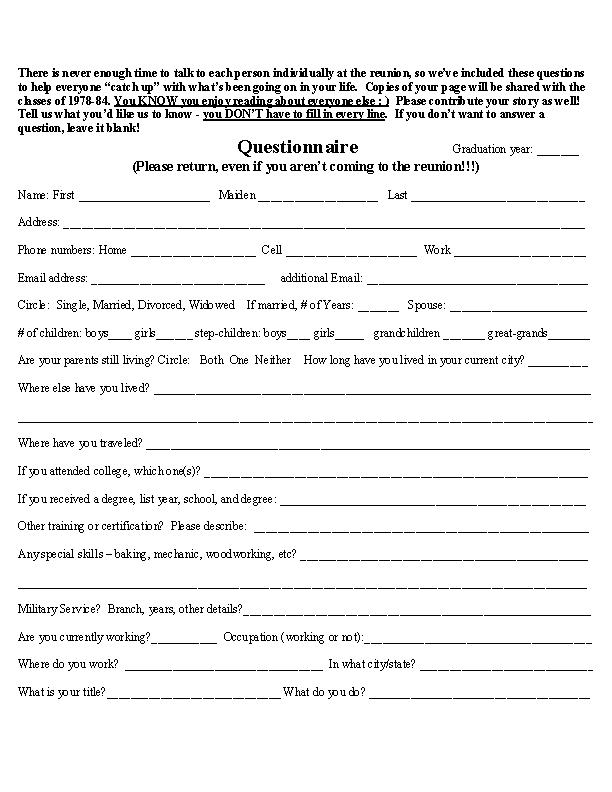 high school registration form template - sample high school reunion questionnaire video search