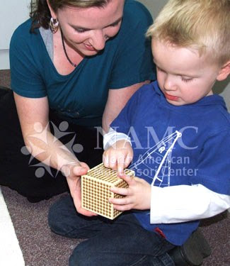 NAMC montessori method dyscalculia teacher and child working with golden bead material
