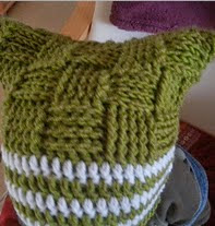 http://www.ravelry.com/patterns/library/green-basketweave-stripy-square-hat