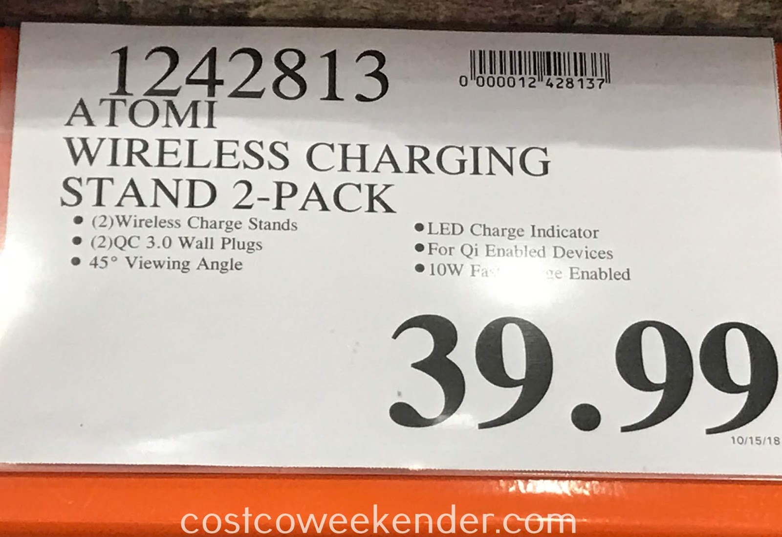 Deal for a 2 pack of Atomi Qi Wireless Charging Stands at Costco
