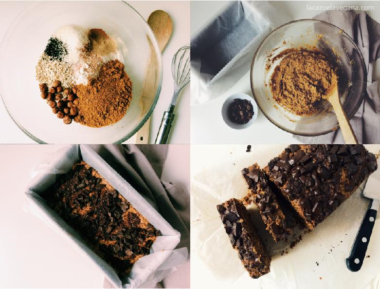 Bizcocho vegano de boniato, avellanas y chocolate