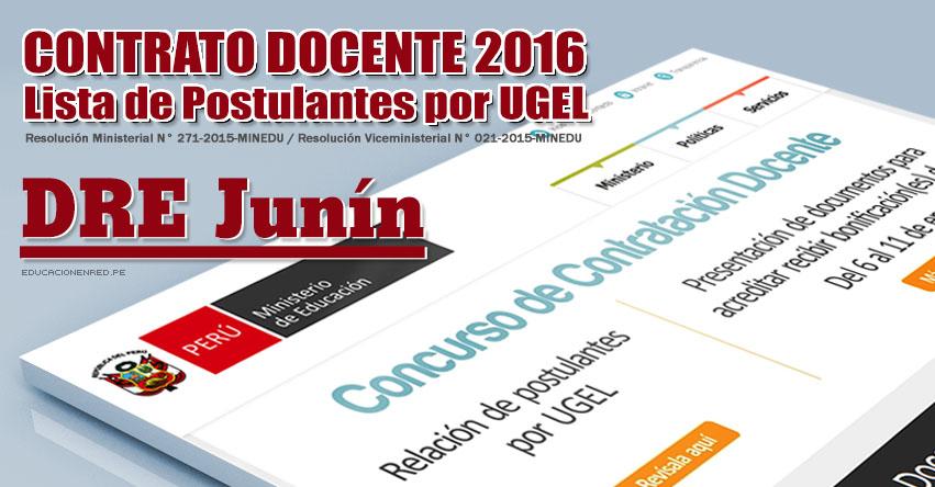 Dre jun n lista de postulantes por ugel para plazas for Concurso de plazas docentes 2016