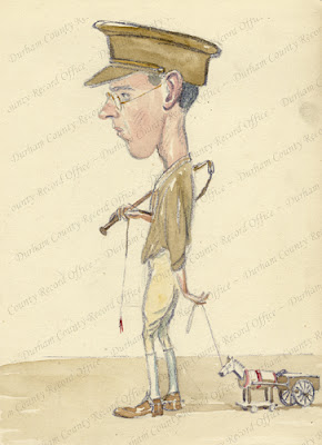 Watercolour illustration caricature, by Robert Mauchlen, of an officer, n.d. [1917] (D/DLI 7'920/11(15))