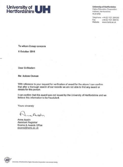 Pengesahan daripada pegawai Hertfordshire University, mengenai status Azizan Osman