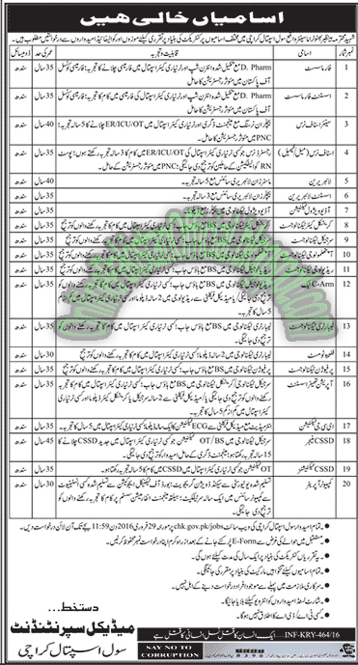 Civil Hospital Karachi Jobs 2016 February Apply