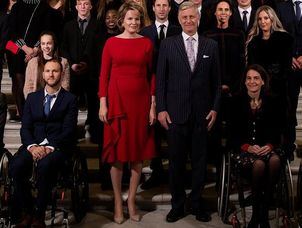 Queen Mathilde in a Natan dress. Red Dress by Natan for Queen Mathilde. Natan is a fashion house founded by Edouard Vermeulen