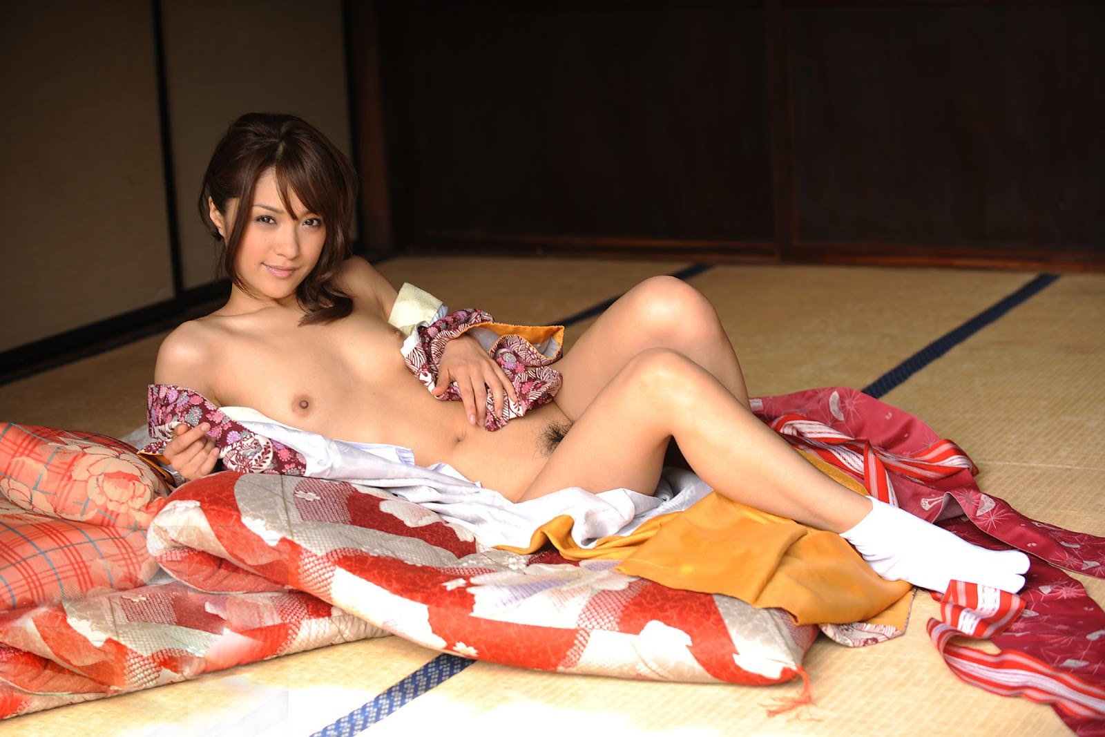 Japanese Kimono Girl Gets Naked Outside And Plays With Herself