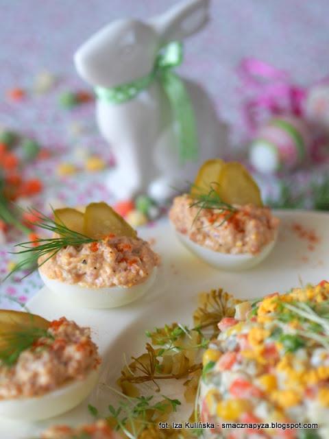 jajka z farszem szynkowym, jajka z szynka, jaja faszerowane, szynka, jajeczka, wielkanoc, sniadanie wielkanocne, wielkanocny stol, ale jaja, sprawdzone przepisy, smaczna pyza