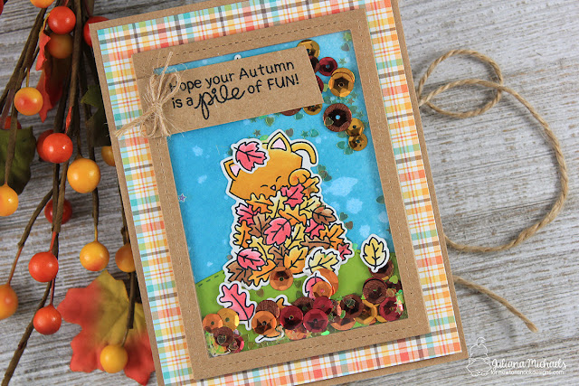 Autumn Shaker Card by Juliana Michaels featuring Newton's Nook Designs Autumn Newton Stamp Set