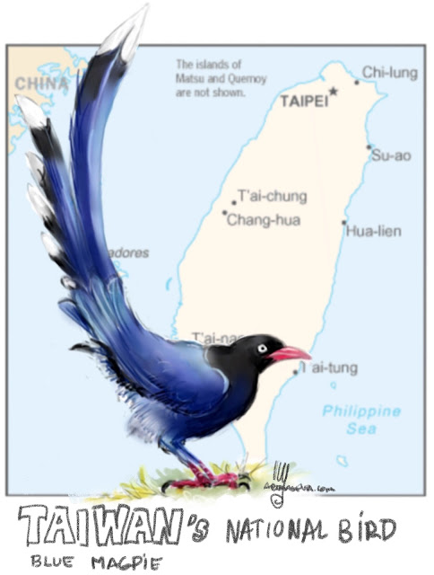 National bird of Taiwan. Painting by Ulf Artmagenta